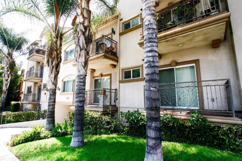 The balconies seen at the Burbank Village Condominiums