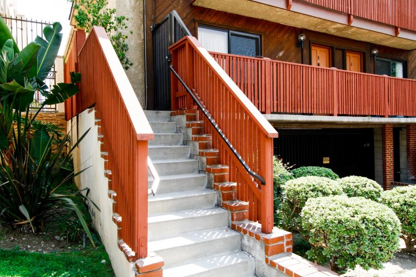 The stairs leading up to Palm Townhomes