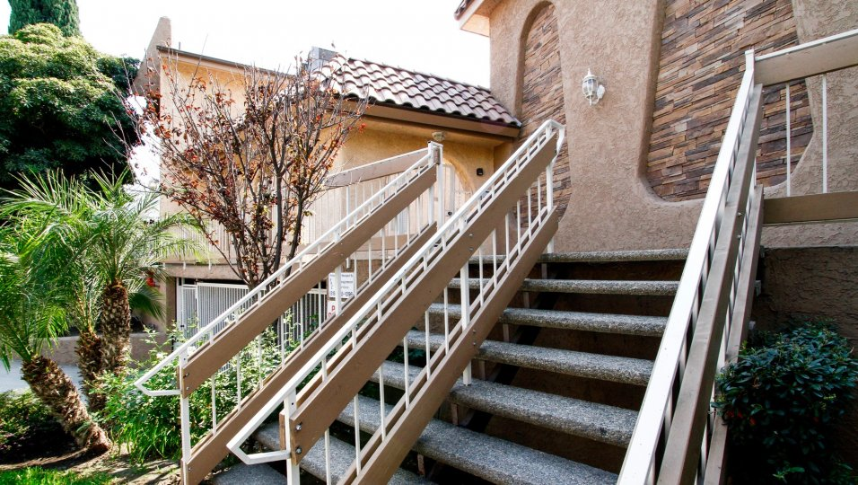 The stairs leading up to Scott Road Villas