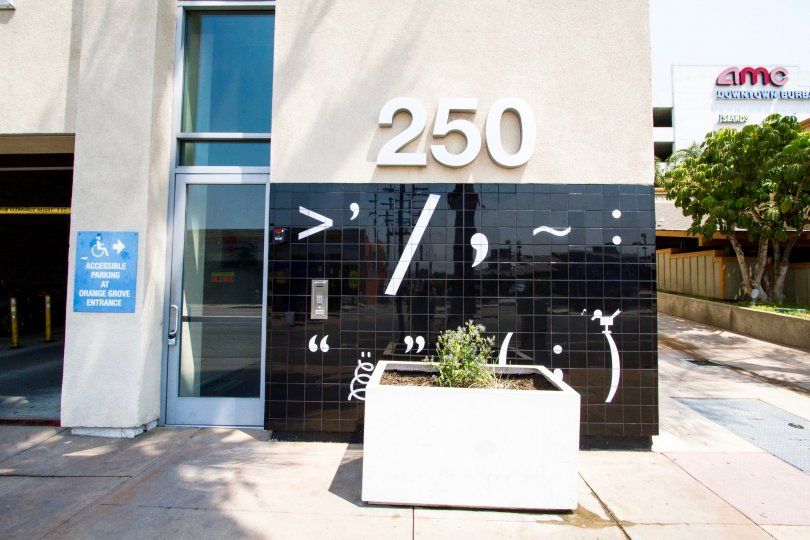 The address on The Burbank Collection building in Burbank California