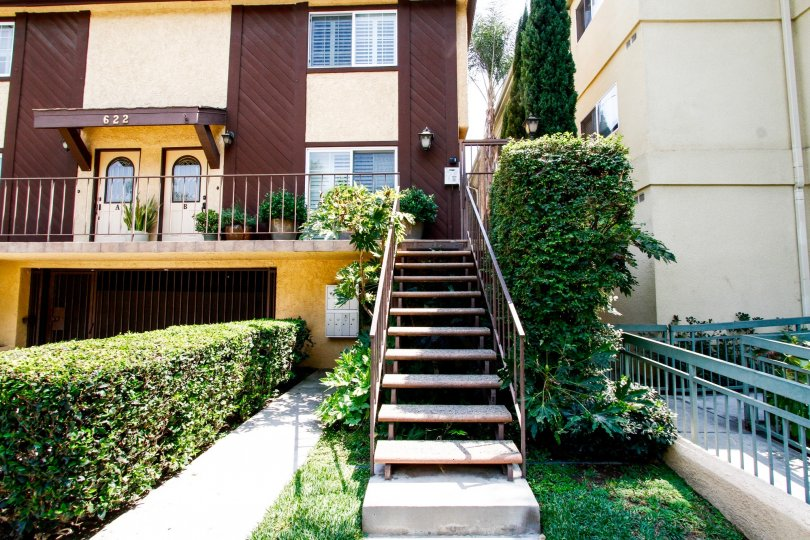 The stairs up to Villa Palm Condominiums