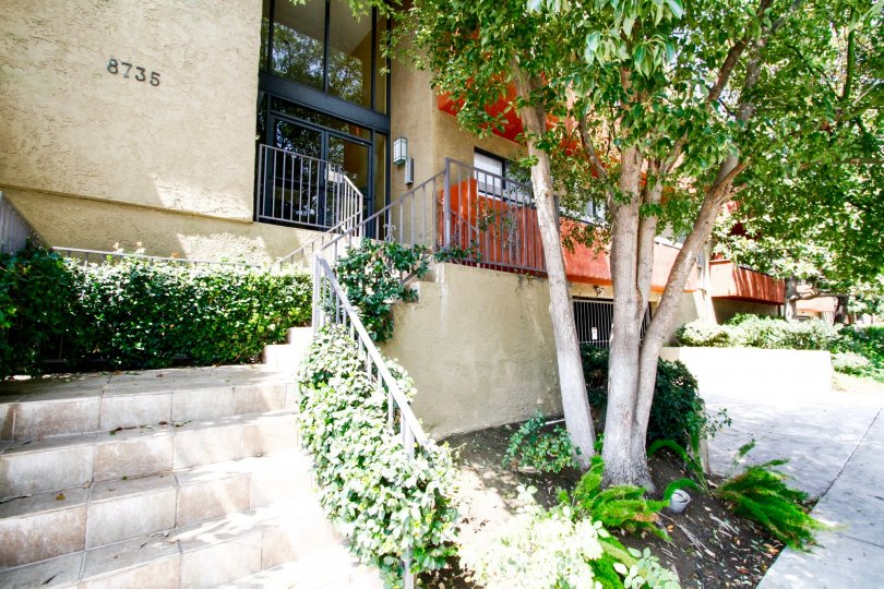 The stairs towards the entry of Fountain Creek Villas in Canoga Park California