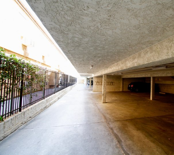 The parking area for residents of Jordan Condos