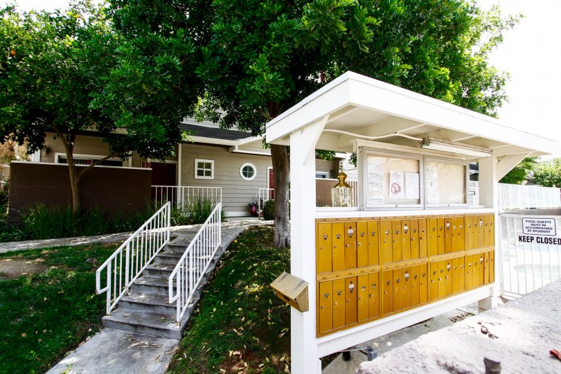 The mail area for residents of Shady Grove in Canoga Park California
