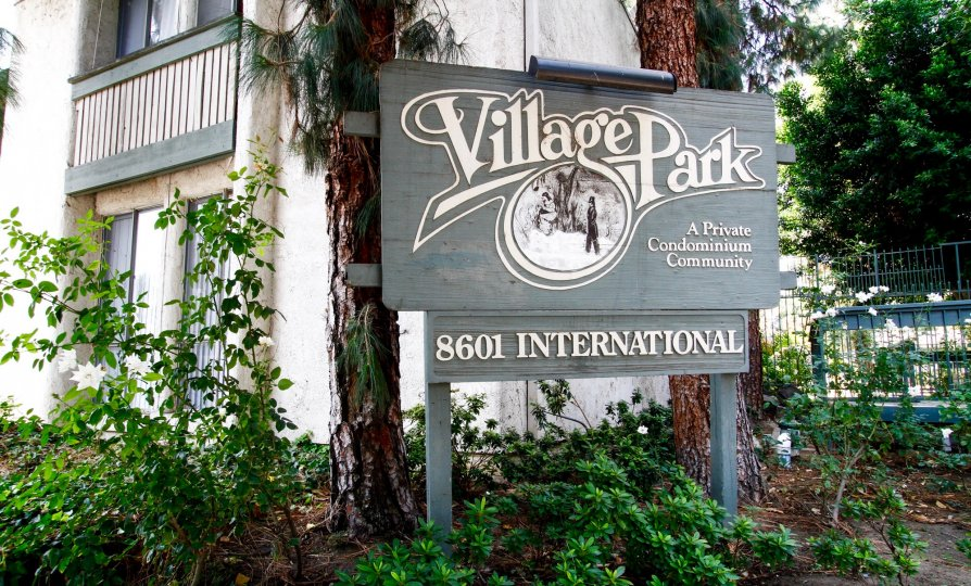 The welcoming sign into Village Park in Canoga Park California