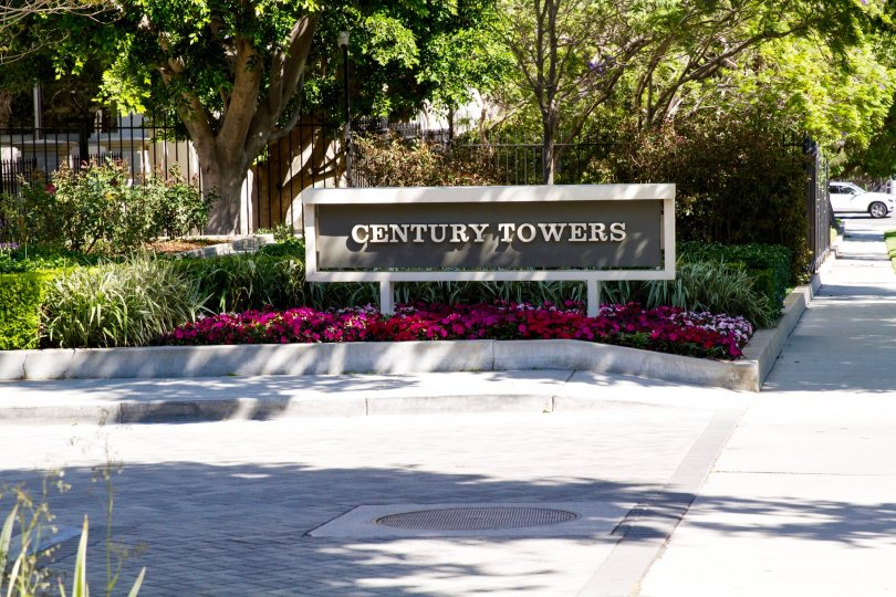The Century Tower marquee stands at the entrance to the building