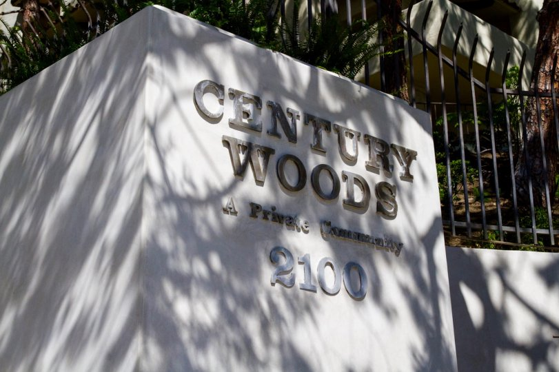 Century Woods marquee near the entrance to the community