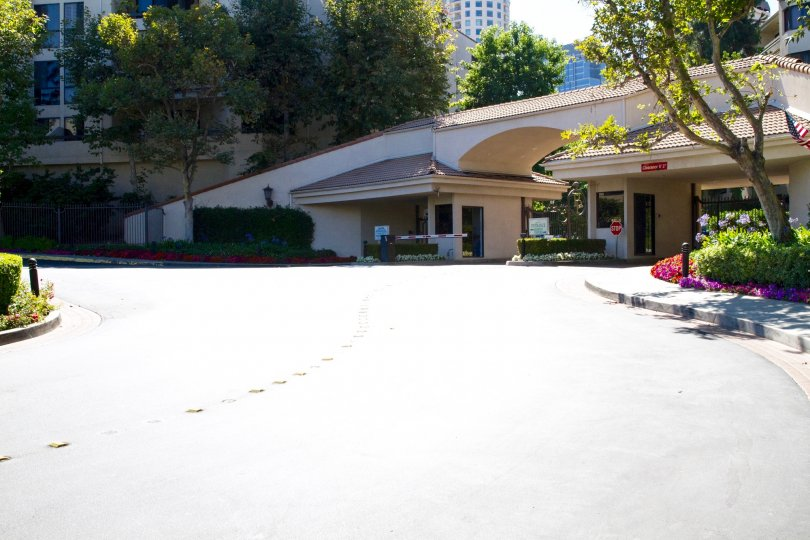 The long driveway to the guard house at Park Place