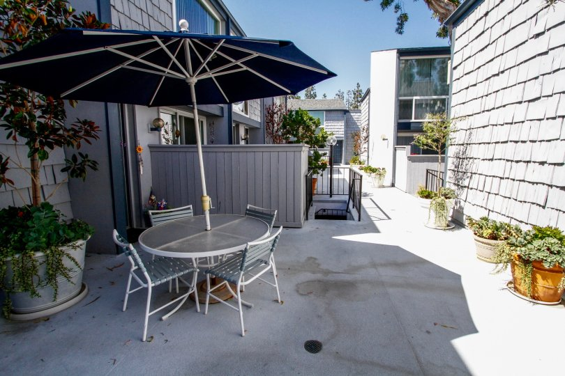 The patio at Doverwood Townhomes in Culver City