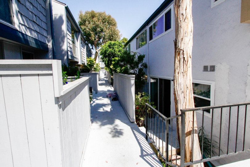 The walkway at Doverwood Townhomes in Culver City