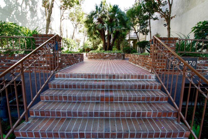 The entry stairs into Green Valley Condominiums