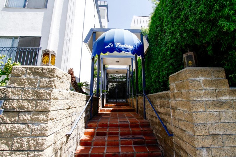 The stairs into La Fontaine in Culver City