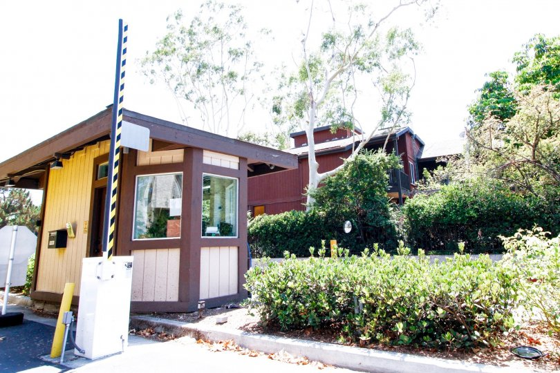 The security booth into Lakeside Village in Culver City