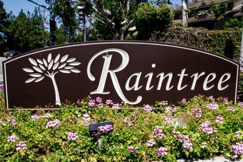 The sign into Raintree Condominiums in Culver City