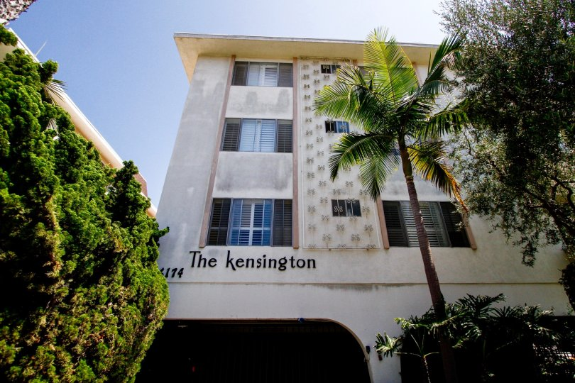 The name of The Kensington written on the building
