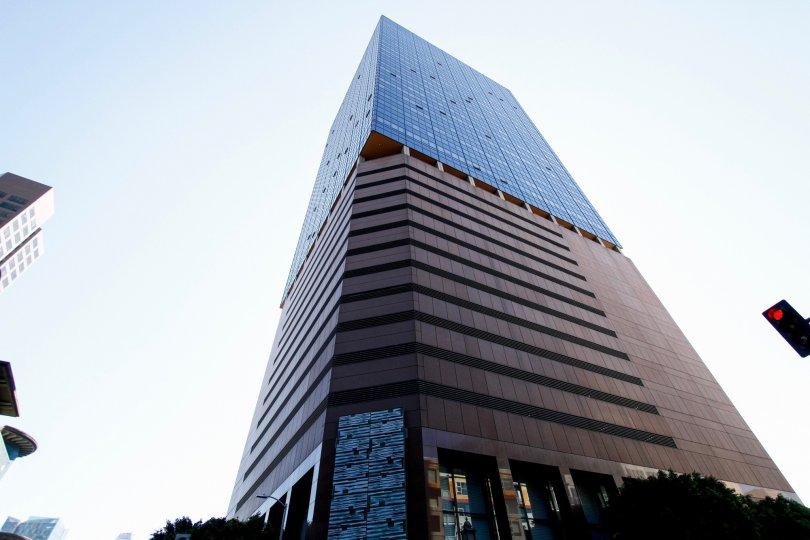 The sleek architecture of 1000 Wilshire in Downtown LA