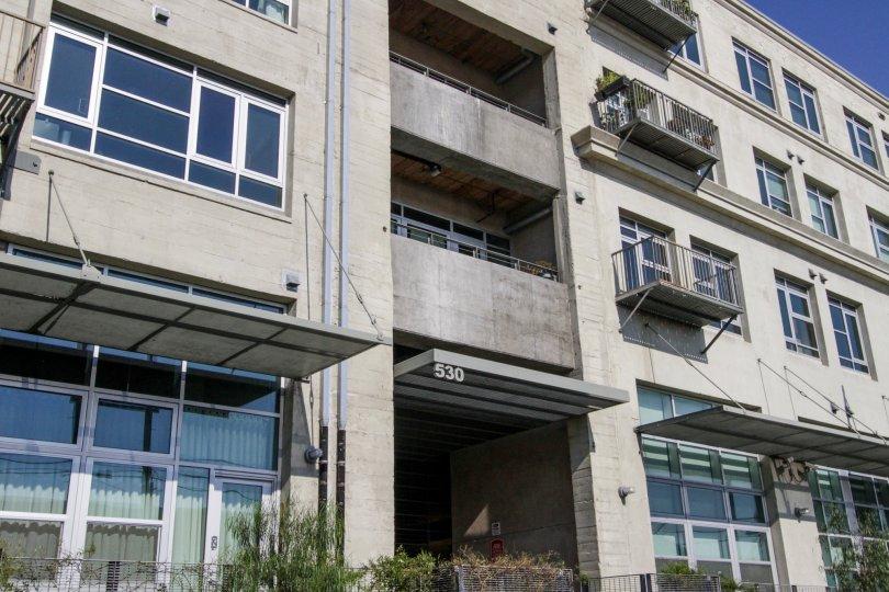 The entrance into Barker Block Lofts in Downtown LA