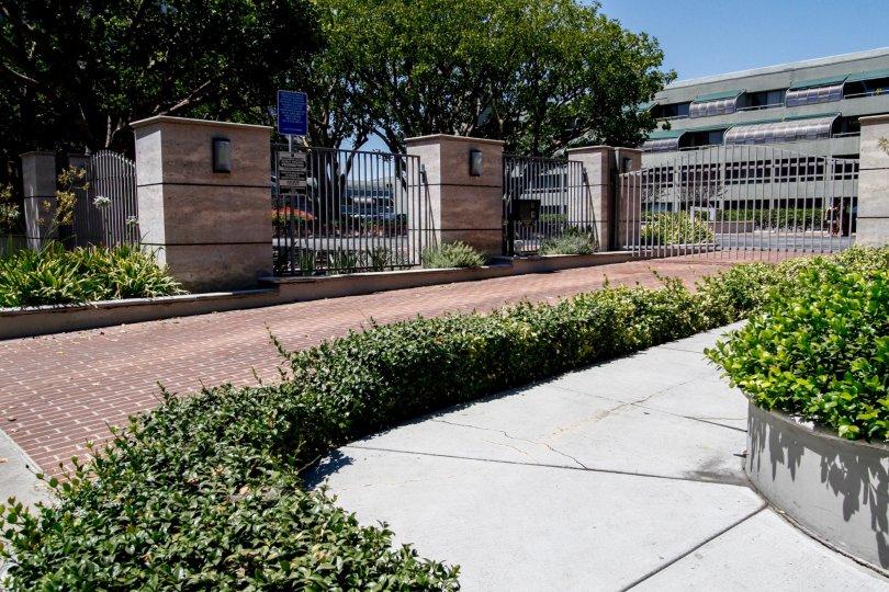 The walkway towards Bunker Hill Tower in Downtown LA
