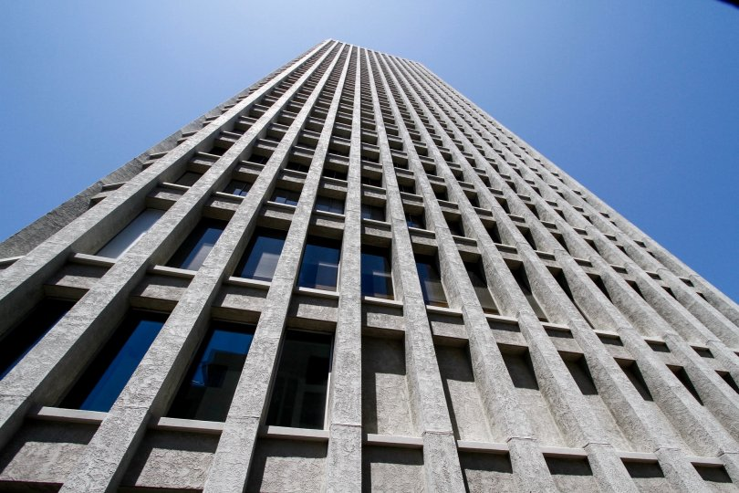 The view of Bunker Hill Tower from the street