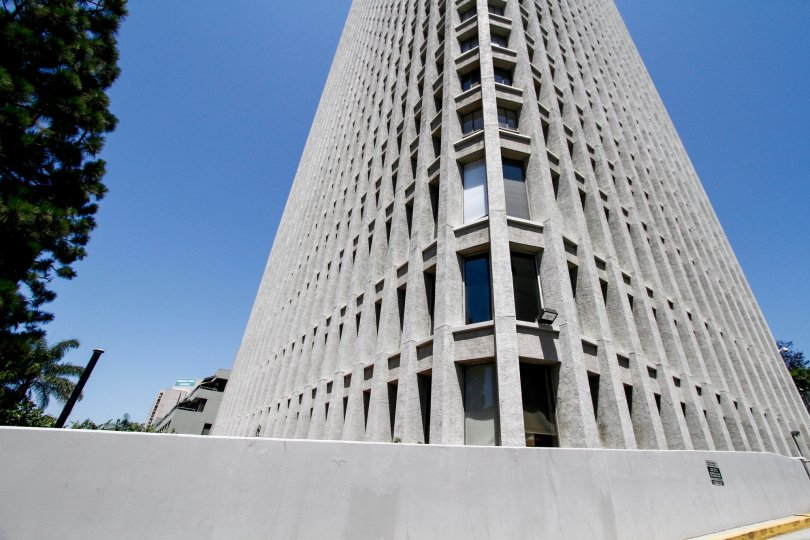 The architecture of Bunker Hill Tower in Downtown LA