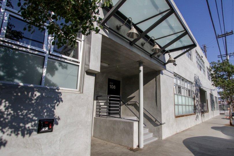 The entryway into Molino Street Lofts in Downtown LA