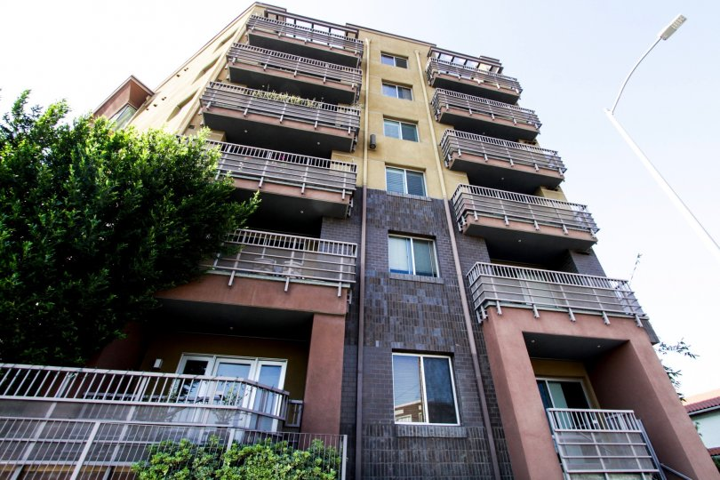 The balconies seen at Mura in Downtown LA