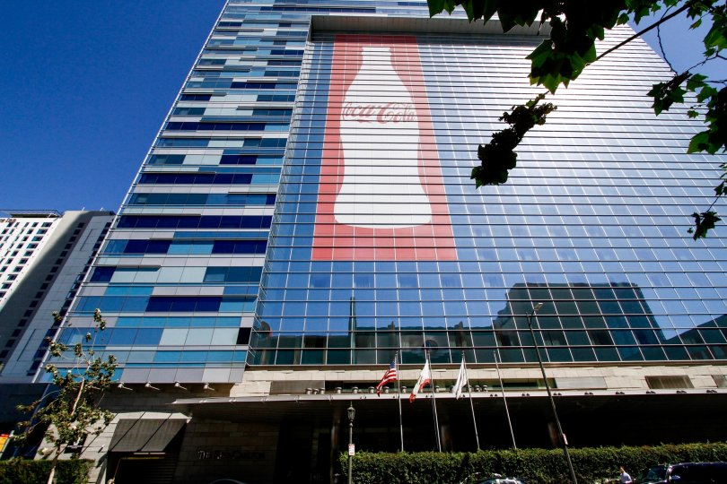 The Coca-Cola bottle on the Ritz Carlton at LA Live in Downtown LA