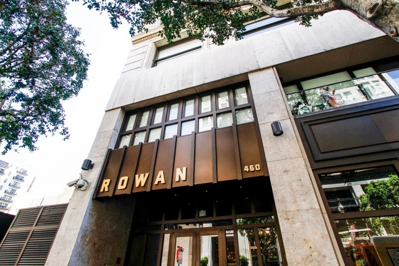 The Rowan Lofts name above the entrance