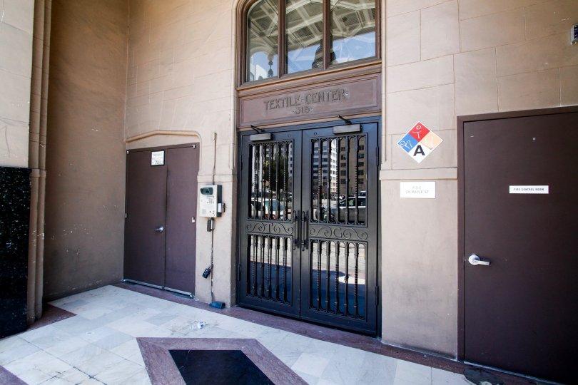 The entrance into Textile Buildings