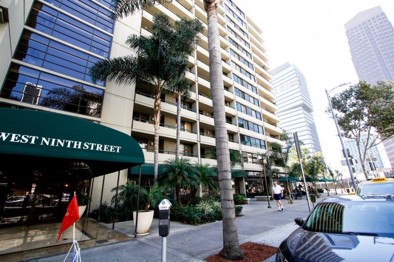 The sidewalk in front of The Skyline in Downtown LA