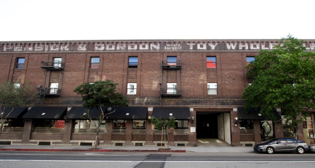 A view of the Toy Warehouse Lofts building from the street in Downtown LA