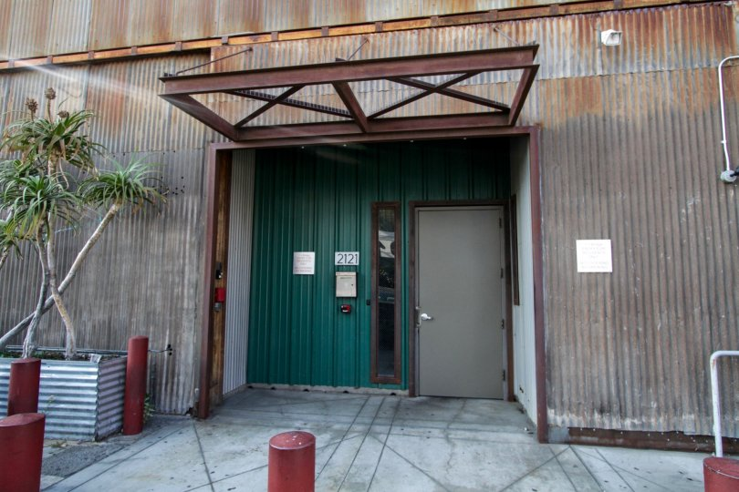 The entrance at 2121 Lofts in Downtown LA