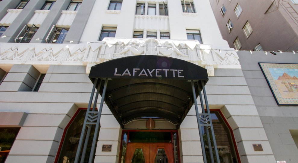 Lafayette Building Marquee at entry of building on canopy