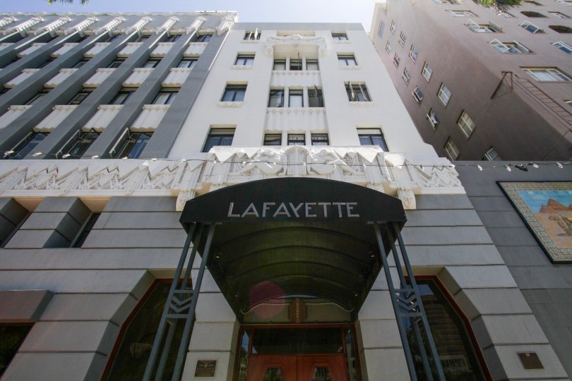Canopy at entrance to Lafayette Building