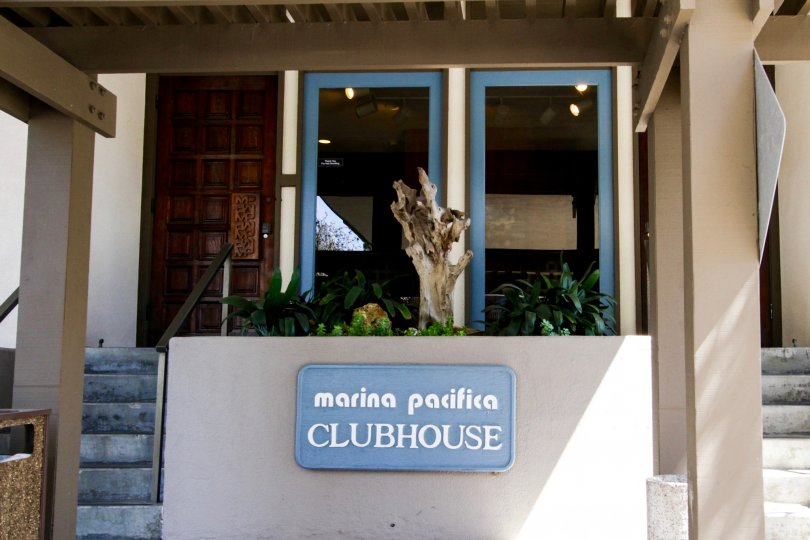 Clubhouse marquee at the entrance to Marina Pacifica Clubhouse