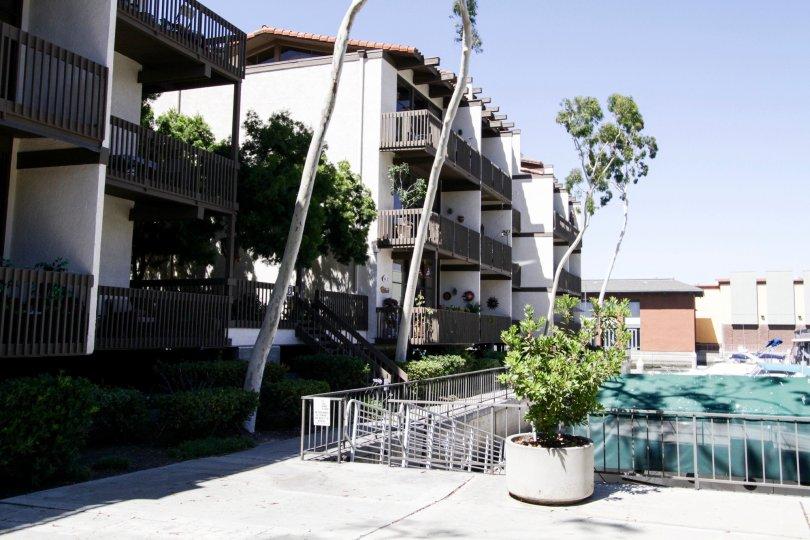 Marina Pacifica condo buildings are three stories tall