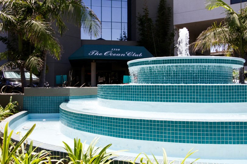 A large tiled fountain greets residents at the entry to Ocean Club