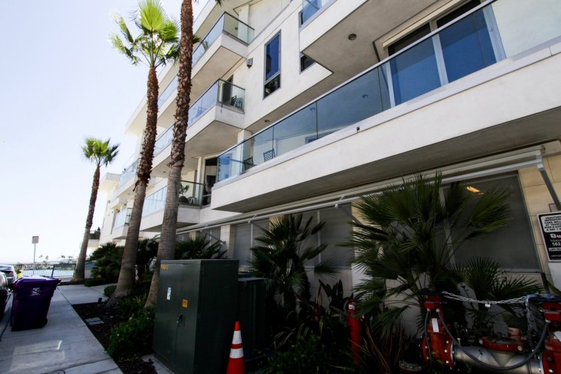 Side view from the street in front of The Oceanside condos