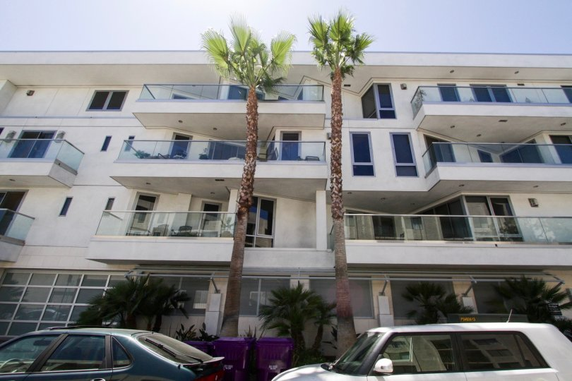 Balconies on each floor of The Oceanside condo building
