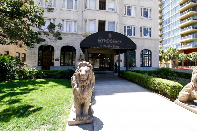 Lion Statues stand at the front of The Sovereign entry