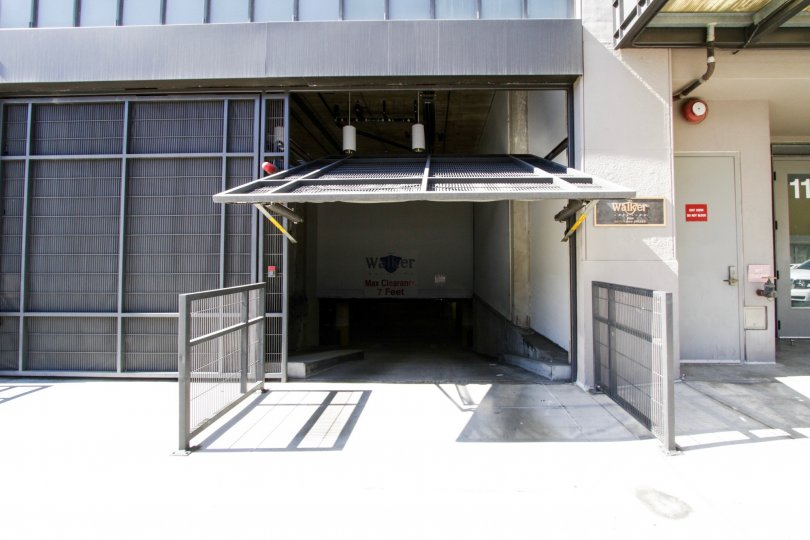 Gated subterranean garage entrance to Walker Building Lofts