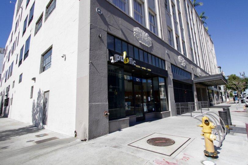 Sidewalk in front of Walker Building Lofts