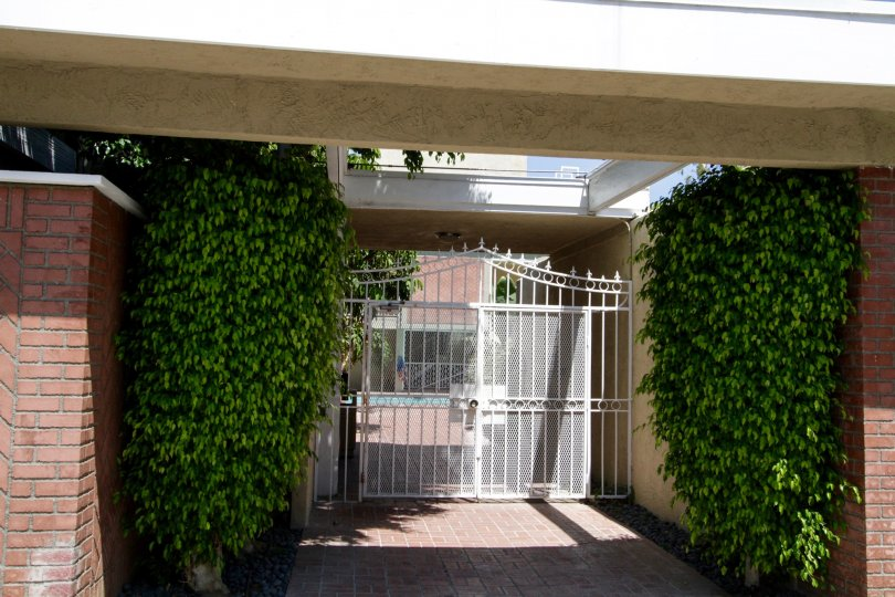 The stunning gated entrance at 4610 Densmore Ave in Encino