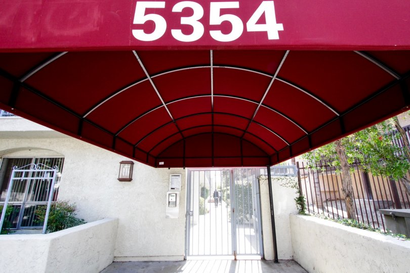 The gated entrance used for the Encino building at 5334 Lindley Ave