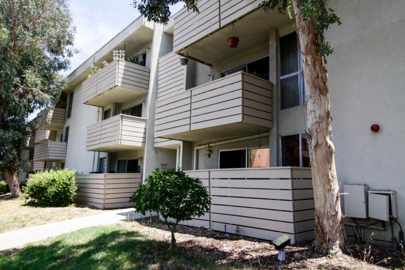 Balconies for units within the Encino Concord Townhouses in Encino