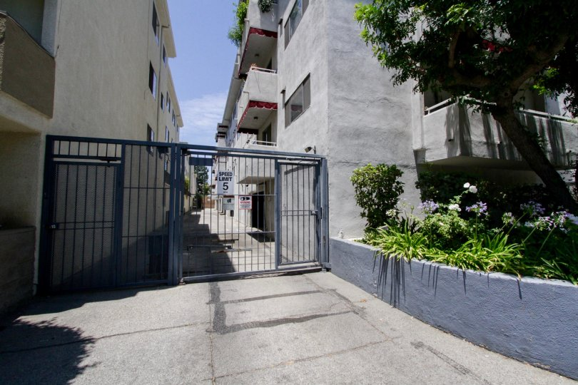Private parking gate for the Encino Gardens buildings within Encino