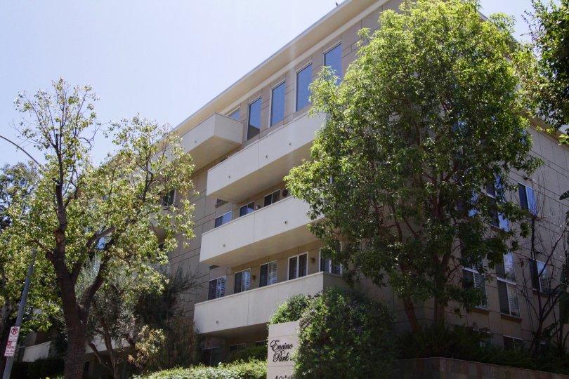 The building balconies at Encino Park West in Encino
