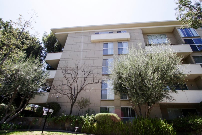 The landscaping around the Encino Park West building in Encino
