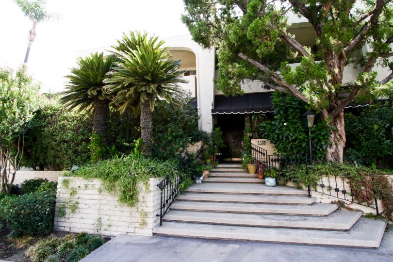 The stairs leading up to the entrance into Encino Spa West