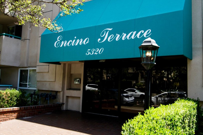 The shaded entrance into Encino Terrace in Encino
